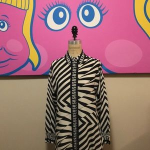 Versus Versace Black White Blouse Zebra Striped